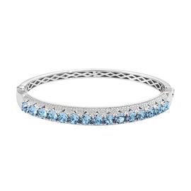 J Francis - Crystal from Swarovski Aquamarine Colour Crystal (Rnd) Bangle (Size 7.5) in Silver Plate