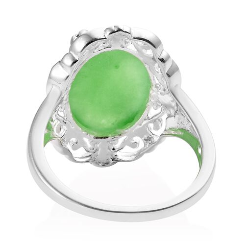Green Jade (Ovl 14x10 mm) Ring in Sterling Silver 6.50 Ct.