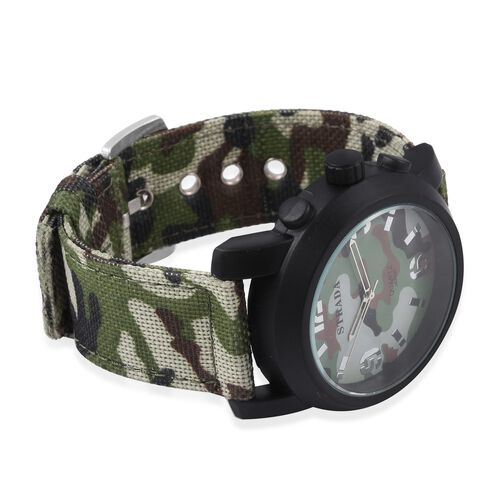 STRADA Japanese Movement Water Resistant Green Camouflage Watch with Nylon Strap