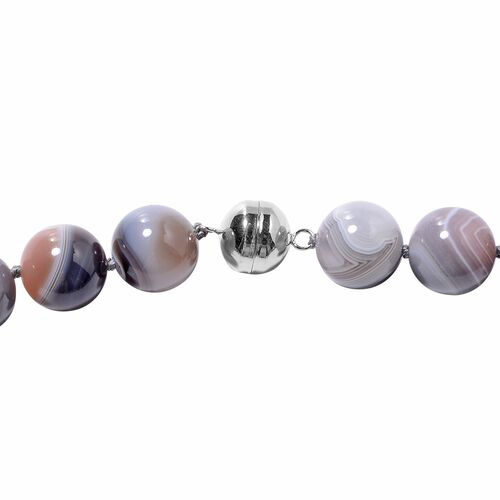 Botswana Agate (Rnd 13-15mm) Beads Necklace (Size 20) in Rhodium Overlay Sterling Silver 628.00 Ct.
