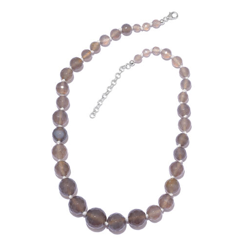 Grey Quartzite Ball Beads Graduated Necklace (Size 18 with 2 Inch Extension) in Platinum Overlay Ste