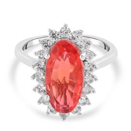 Padparadscha Triplet Quartz and Natural Cambodian Zircon Ring in Platinum Overlay Sterling Silver 4.