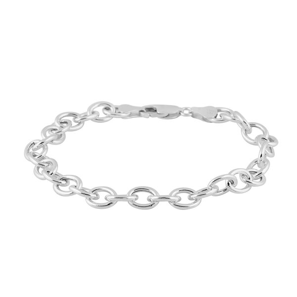 Sterling Silver Oval Belcher Bracelet (Size 8) with Lobster Clasp, Silver wt 6.00 Gms