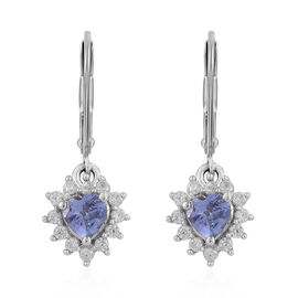 Tanzanite (Hrt), Natural Cambodian Zircon Earrings (with Lever Back) in Platinum Overlay Sterling Silver 1.350 Ct.