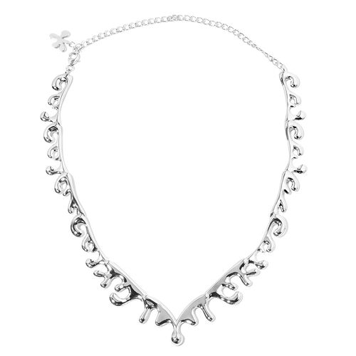 TJC Launch- LucyQ Sea Wave Necklace (Size 14 and 6 inch Extender) in Rhodium Overlay Sterling Silver