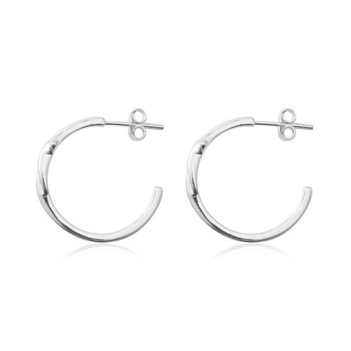 Sterling Silver Half Hoop Earrings (with Push Back), Silver wt 3.36 Gms.