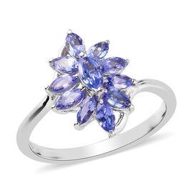 Tanzanite Ring in Platinum Overlay Sterling Silver