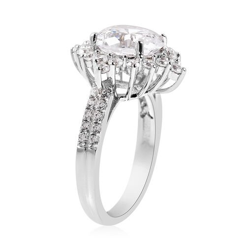 Lustro Stella Simulated Diamond Ring in Platinum Overlay Sterling Silver 5.80 Ct.