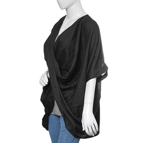 Close Out Deal-Black Colour Cross Over Wrap Drape Top (Free Size)