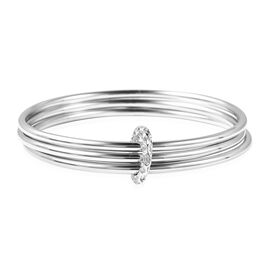 RACHEL GALLEY Allegro Collection - Rhodium Overlay Sterling Silver Bangle (Size 7.75), Silver wt 46.