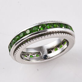 GP - Russian Diopside (Rnd), Blue Sapphire Ring in Platinum Overlay Sterling Silver 2.52 Ct, Silver