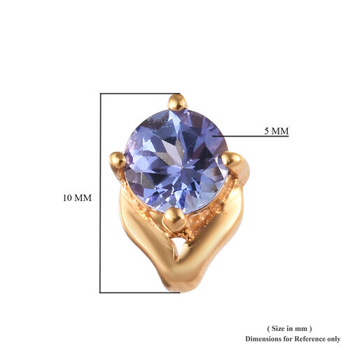 AA Tanzanite (Rnd) Stud Earrings (with Push Back) in 14K Gold Overlay Sterling Silver 1.00 Ct.