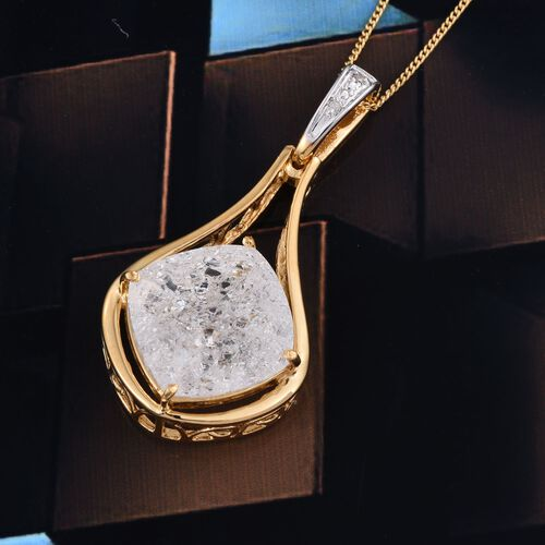 Diamond Crackled Quartz (Cush), Diamond Pendant With Chain in 14K Gold Overlay Sterling Silver 10.520 Ct.