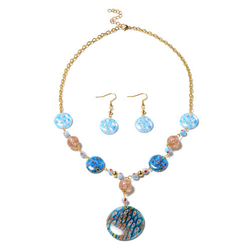 2 Piece Set - Blue and Champagne Colour Murano Glass Hook Earrings and Necklace (Size 20 with 2 inch