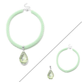 2 Piece Set  - Simulated Peridot and Green Bead Necklace (Size 20) with Detachable Pendant