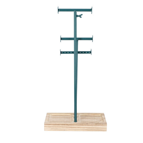 3 Tier Jewellery Stand in Teal Colour with Wooden Base