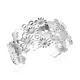 LucyQ Floral Collection - Rhodium Overlay Sterling Silver Cuff Bangle (Size 7),  Sliver Wt. 43.79 Gm