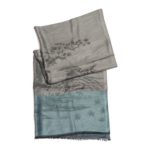 100% Modal Scarf-Grey, Blue and Black Colour Tree and Bird Pattern Jacquard Scarf (Size 170x70 Cm)