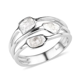 Artisan Crafted Polki Diamond Ring in Platinum Overlay Sterling Silver 0.30 Ct.