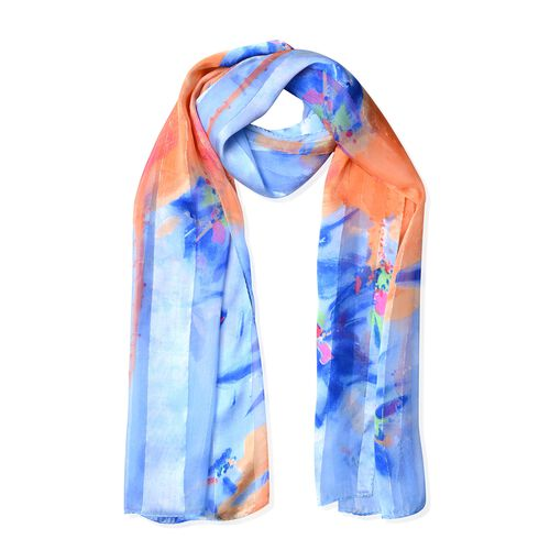 100% Mulberry Silk Blue, Orange and Multi Colour Flower Pattern Scarf (Size 170x53 Cm) (Weight 40 Gm