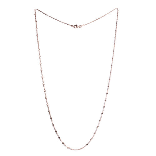 Rose Gold Overlay Sterling Silver Ball Bead Station Chain (Size 24), Silver wt 3.00 Gms