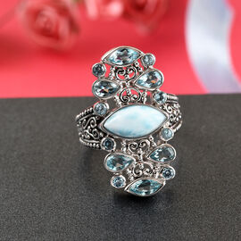 Sajen Silver Cultural Flair Collection - Larimar, Swiss Blue Topaz and Aquamarine Colour Doublet Quartz Enamelled Ring in Platinum Overlay Sterling Silver 3.35 Ct.
