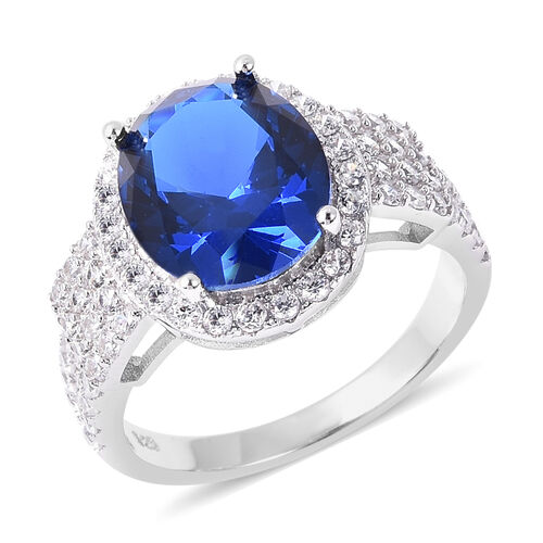 ELANZA Simulated Blue Sapphire and Simulated Diamond Halo Ring in Rhodium Plated Silver