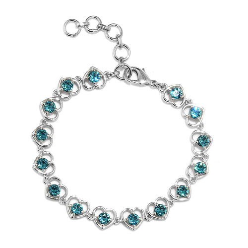 J Francis - Crystal from Swarovski Indicolite Crystal (Rnd) Heart Bracelet (Size 6.5 with 1 inch Ext