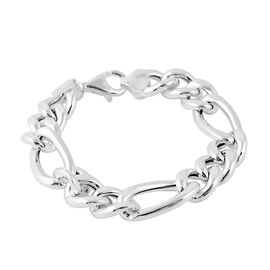 Italian Made Figaro Chain Bracelet in Rhodium Plated Silver 19.32 grams 7.25 Inch