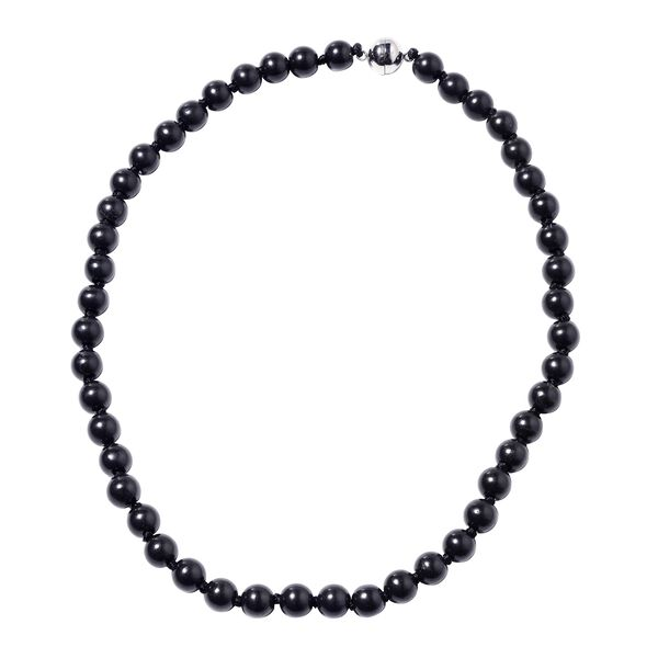 260 Ct Shungite Beaded Necklace with Magnetic Lock in Rhodium Plated Silver 20 Inch
