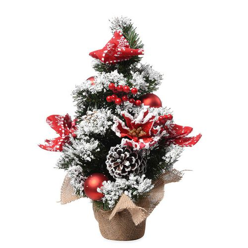 Table Christmas Tree with Snow Flocking, Baubles, Pine Cone and Bow (Size 40cm) - Red, White and Gre