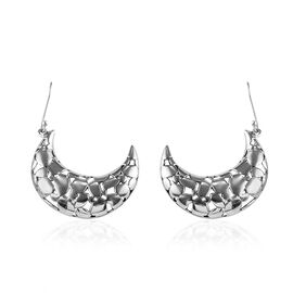 Crescent Moon Earrings with Hook in Silver 10.03 Grams
