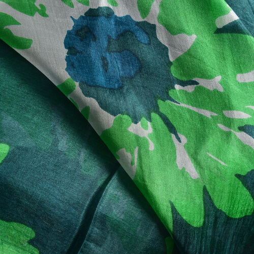 100% Mulberry Silk Alpine Green, Light Green and White Colour Handscreen Floral Printed Kaftan (Free Size)