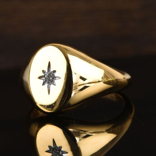 Diamond Signet Ring in 14K Gold Overlay Sterling Silver