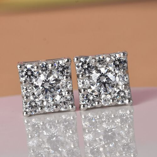J Francis Platinum Overlay Sterling Silver Stud Earrings (with Push Back) Made with SWAROVSKI ZIRCONIA 3.35 Ct.