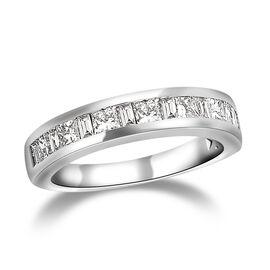 RHAPSODY 950 Platinum IGI Certified Diamond (Sqr) (VS /E-F) Half Eternity Band Ring 1.000 Ct, Platin