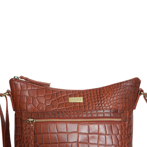 Assots London OLGA Croc Embossed Genuine Leather Crossbody Bag with Zipper Closure and Adjustable Strap (Size 30x9.5x26 Cm) - Red