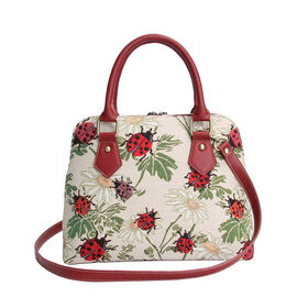 SIGNARE - Tapastry Collection - Ladybird Top-Handle Shoulder Bag with Removable Strap ( 36 x 23 x 12.5 Cms)