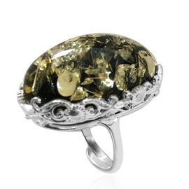 Signature Collection- Baltic Green Amber (Ovl 18x29mm) Adjustable Ring in Sterling Silver 25.00 Ct, Silver wt 6.40 Gms.