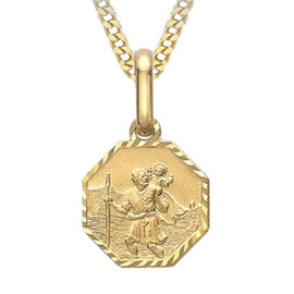 9K Yellow Gold Diamond Cut Octagonal St Christopher Charm