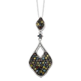 0.50 Ct Rainbow Colour Diamond Cluster Drop Pendant with Chain in Platinum Plated Silver 3.09 Grams