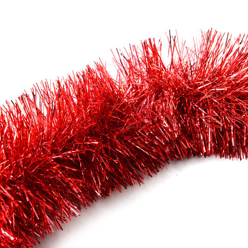 Set of 4 Red Colour Tinsel Garland Christmas Decoration (Size 2m)