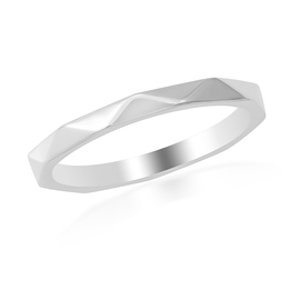 Rhodium Overlay Sterling Silver Band Ring