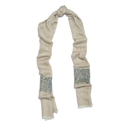 100% Cashmere Wool Grey, Blue and Multi Colour Floral Pattern Scarf with Fringes (Size 200X70 Cm)