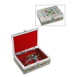 Floral Pattern Minakari Handcrafted Enamelled Jewellery Storage Box with Red Velvet Lining (Size 20x