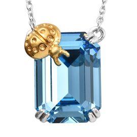 J Francis - Crystal from Swarovski Aquamarine Colour Crystal (Oct 18x13 mm) Ladybug Necklace (Size 1