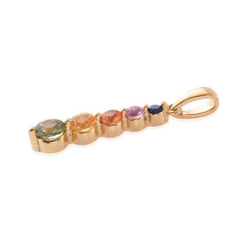 Green Sapphire (Rnd), Yellow Sapphire, Orange Sapphire, Pink Sapphire and Kanchanaburi Blue Sapphire Pendant in 14K Gold Overlay Sterling Silver 0.745 Ct.