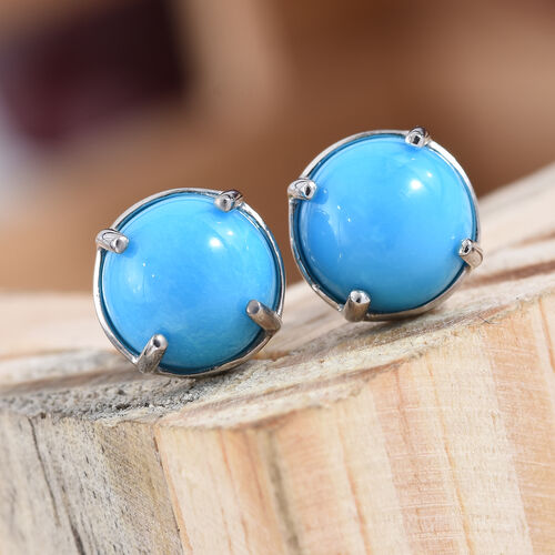 ILIANA 18K White Gold Arizona Sleeping Beauty Turquoise (Rnd 8 mm) Stud Earrings (with Screw Back) 3.70 Ct.