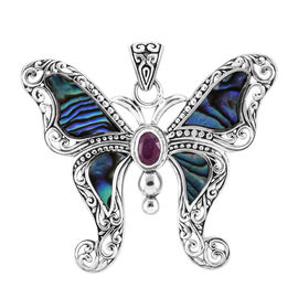 Royal Bali Collection Abalone Shell and African Ruby Butterfly Pendant in Sterling Silver 1.061 Ct,