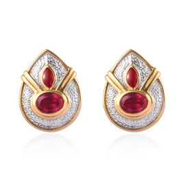 African Ruby Enamelled Stud Earrings (with Push Back) in Rhodium and 14K Gold Overlay Sterling Silve